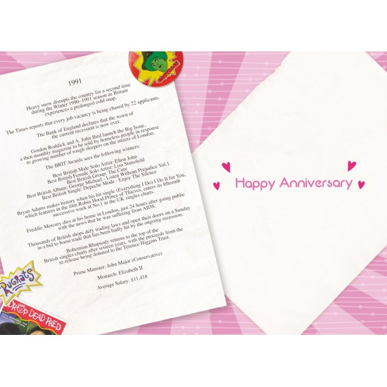 Pearl Wedding Anniversary Card - Married in 1991 - 30th Wedding Anniversary Card from The Down Memory Lane Range with Facts Inside - Attractive Foil Finish