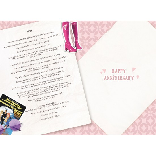 Golden Wedding Anniversary Card - Married in 1971 - 50th Wedding Anniversary Card from The Down Memory Lane Range with Facts Inside - Attractive Foil Finish
