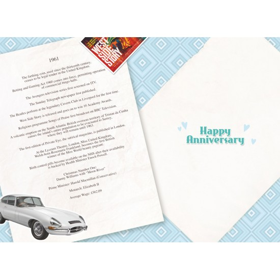 Diamond Wedding Anniversary Card - Married in 1961 - 60th Wedding Anniversary Card from The Down Memory Lane Range - Attractive Foil Finish - Facts Inside