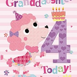 To A Special Granddaughter 4 Today Dog & Cake Design 4th Happy Birthday Card