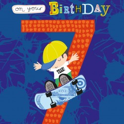 To the Best Grandson 7 Today Skateboarding Design Happy Birthday Greeting Card