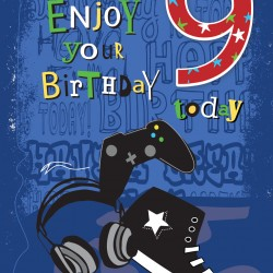 To an Awesome Grandson 9 Today Music and Video Game Design Happy Birthday Greeting Card