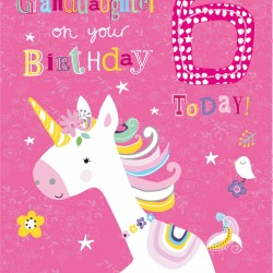 To a Beautiful Granddaughter 6 Today Unicorn and Bird Design Happy Birthday Greeting Card