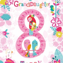To a Gorgeous Granddaughter 8 Today Parrot and Birds Design Happy Birthday Greeting Card
