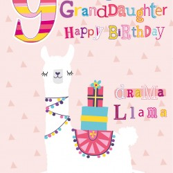 To a Gorgeous Granddaughter 9 Today Drama Llama and Presents Design Happy Birthday Greeting Card