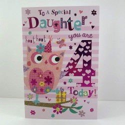 To A Special Daughter 4 Today Owl & Flower Design 4th Happy Birthday Card