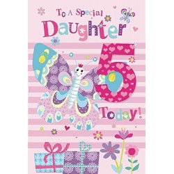 5th Birthday To A Special Daughter 5 Today Butterfly Presents Design Happy Birthday Card