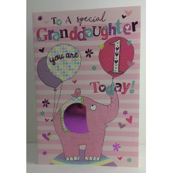 To A Special Granddaughter 1 Today Elephant & Balloons Design 1st Happy Birthday Card