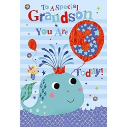 To A Special Grandson 3 Today Whale & Balloon Design Happy Birthday Card