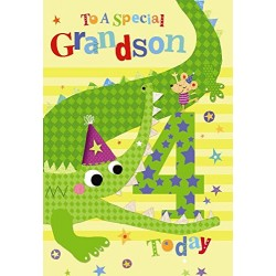4th Birthday To A Special Grandson 4 Today Crocodile & Mouse Design Happy Birthday Card