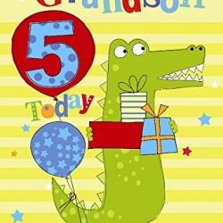 5th Birthday To A Special Grandson 5 Today Crocodile Presents Design Happy Birthday Card