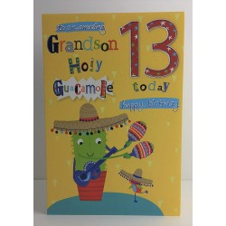To An Amazing Grandson Holy Guacamole 13 Today Special 13th Birthday Greeting Card