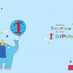 1st Birthday To A Special Son 1 Today Elephant & Presents Design Happy Birthday Card