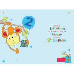 2nd Birthday To A Special Son 2 Today Monkey & Presents Design Happy Birthday Card
