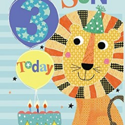 To A Special Son 3 Today Lion Balloon & Cake Design Happy Birthday Card