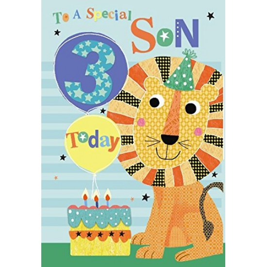 To A Special Son 3 Today Lion Balloon & Cake 3rd Happy Birthday Card