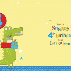 4th Birthday To A Special Son 4 Today Crocodile & Presents Design Happy Birthday Card