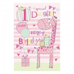 To A Special Daughter 1 Today Giraffe & Presents Design 1st Happy Birthday Card