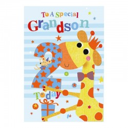 To A Special Grandson 2 Today Giraffe & Presents Design Happy 2nd Birthday Card