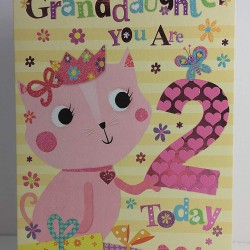 To A Special Granddaughter 2 Today Cat & Presents Design Happy 2nd Birthday Card