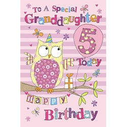 To A Special Granddaughter 5 Today Owl & Presents Design 5th Happy Birthday Card