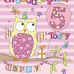 5th Birthday To A Special Granddaughter 5 Today Owl & Presents Design Happy Birthday Card