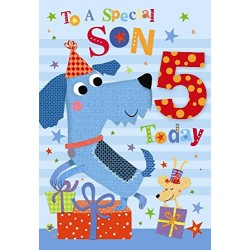 To A Special Son 5 Today Dogs Party & Presents Design Happy Birthday Card