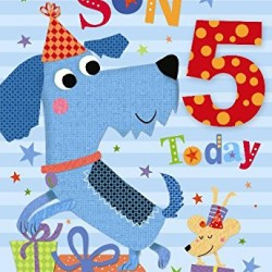 5th Birthday To A Special Son 5 Today Dogs Party & Presents Design Happy Birthday Card