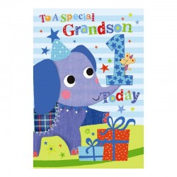 To A Special Grandson 1 Today Elephant & Presents Design Happy Birthday Card