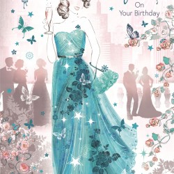 Bella Lovely Wife on Your Birthday Greeting Card (CO-BE030) - Female Ballgown Champagne - Foil Finish - from Cherry Orchard
