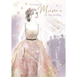 Bella Special Mum on Your Birthday Greeting Card (CO-BE031) - Female Ballgown - Foil Finish - from Cherry Orchard