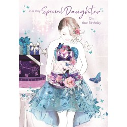 Bella Special Daughter Birthday Card (CO-BE033) - Girl in Dress with Flowers & Cake - Foil Finish - from Cherry Orchard