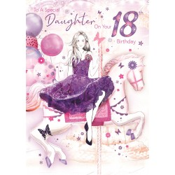 Bella Daughter 18th Birthday Card (CO-BE034) - Age 18, Carousel and Balloons - Foil Finish - from Cherry Orchard