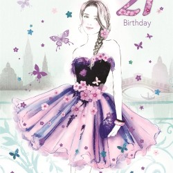 Bella Daughter 21st Birthday Card (CO-BE035) - Age 21, Elegant Female in Floral Dress - Foil Finish - from Cherry Orchard