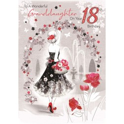 Bella Granddaughter 18th Birthday Card (CO-BE036) - Age 18, Female Under Floral Arch - Foil Finish - from Cherry Orchard