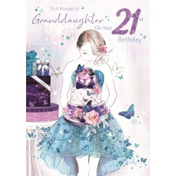 Bella Granddaughter 21st Birthday Card (CO-BE037) - Age 21, Female with Flowers & Cake - Foil Finish - from Cherry Orchard