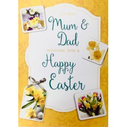 To You Mum & Dad wishing you a Happy Easter Greeting Card with Spring Daffodils EAS016