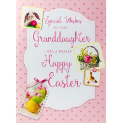 Special wishes to you Granddaughter Happy Easter Greeting Card eggs bunny & ducking EAS012