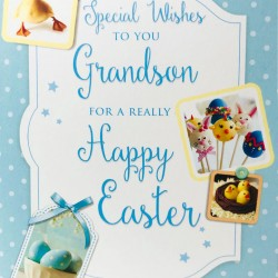 Special wishes Grandson Happy Easter Greeting Card with treats EAS014