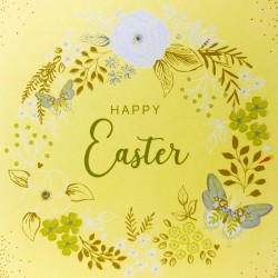 Happy Easter Floral Wreath Greeting Card with butterflies EAS008