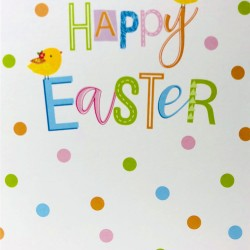 Happy Easter Greeting Card with Chicks and Polka Dots EAS003