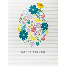 Happy Easter Greeting Card with Stripes, Floral Egg & Chick EAS005