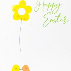 Wishing you a Happy Easter Greeting Card with Chicks & Flower EAS006