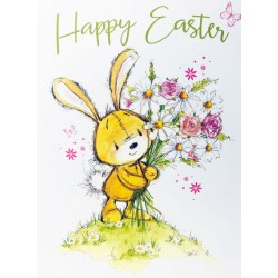 Happy Easter Greeting Card with Bunny and Flowers EAS010