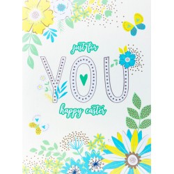 Just for You Happy Easter Greeting Card with Spring Flowers & Butterflies EAS004