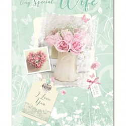 Special Wife I Love You Birthday Greeting Card (ML451) - Female Pink Roses - Glitter Finish - from Cherry Orchard