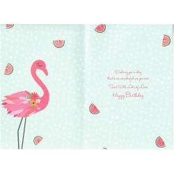To A Flamazing Daughter Happy Birthday Greeting Card Glitter With Finish Flamingo and Watermelon Design ML996