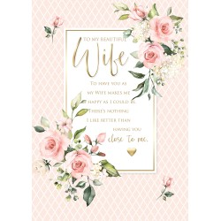 Beautiful Wife 6 Verse Booklet insert Luxury Birthday Greeting Card