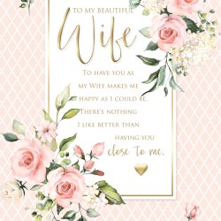 Beautiful Wife 6 Verse Booklet insert Luxury Birthday Greeting Card