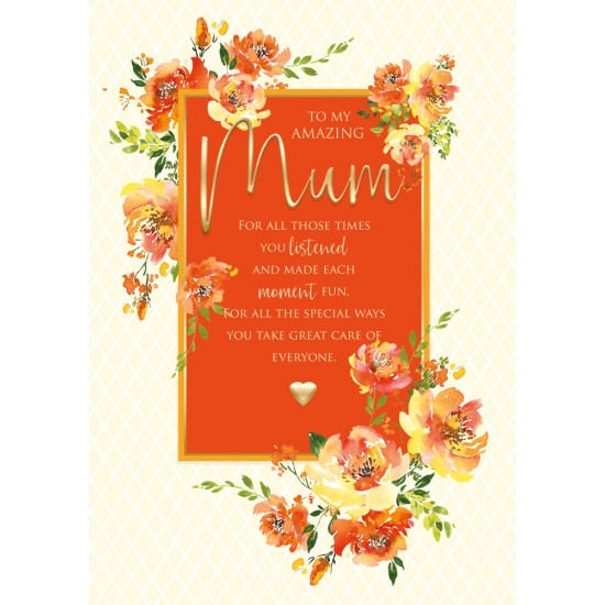 Amazing Mum 6 Verse Booklet insert Luxury Birthday Greeting Card